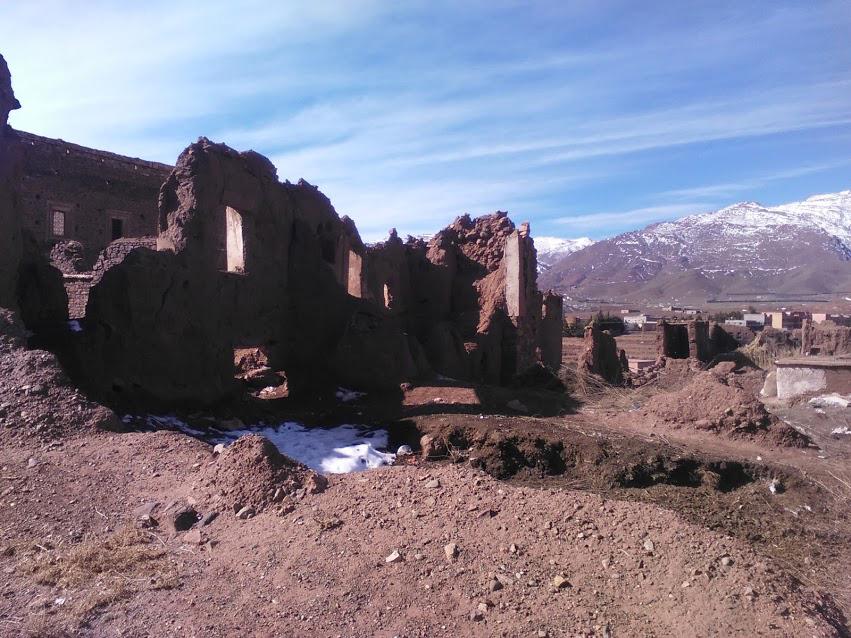 Kasbah ruina con nieve